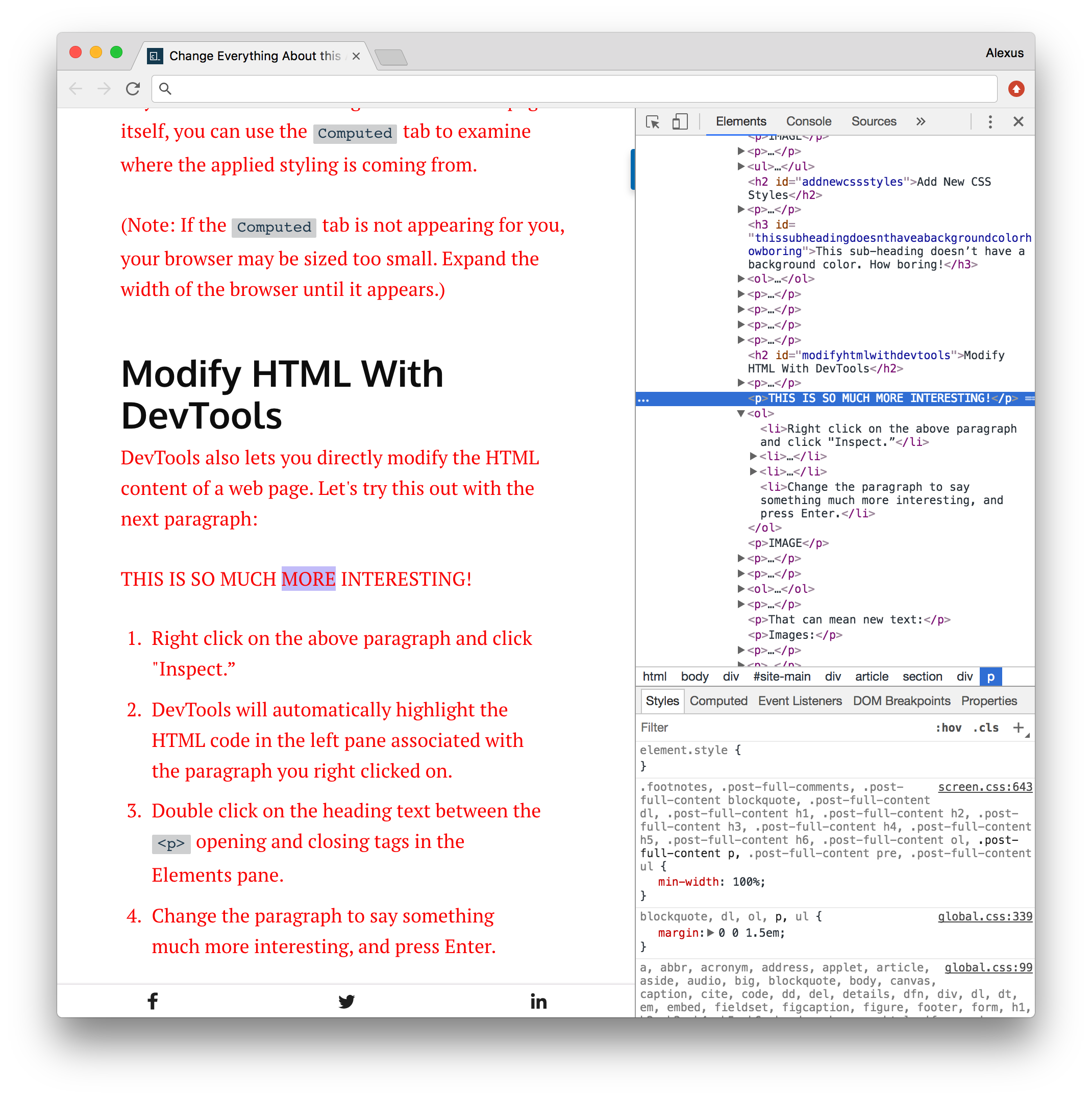Follow Along: Modify this Article with Inspect Element