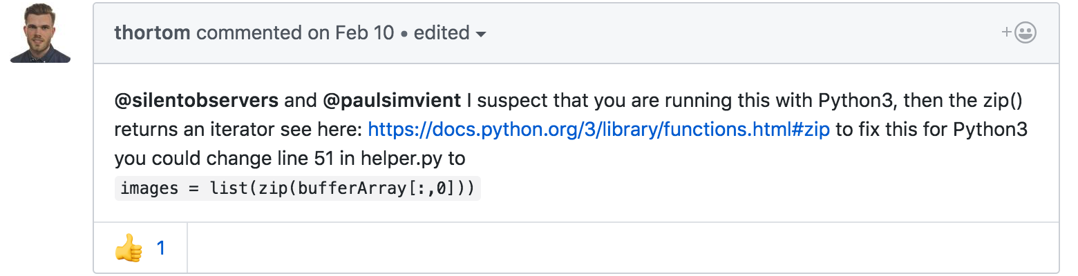 comment solving an error on github
