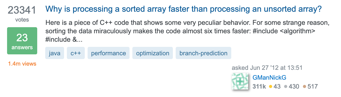 Why is processing a sorted array faster than processing an unsorted array?